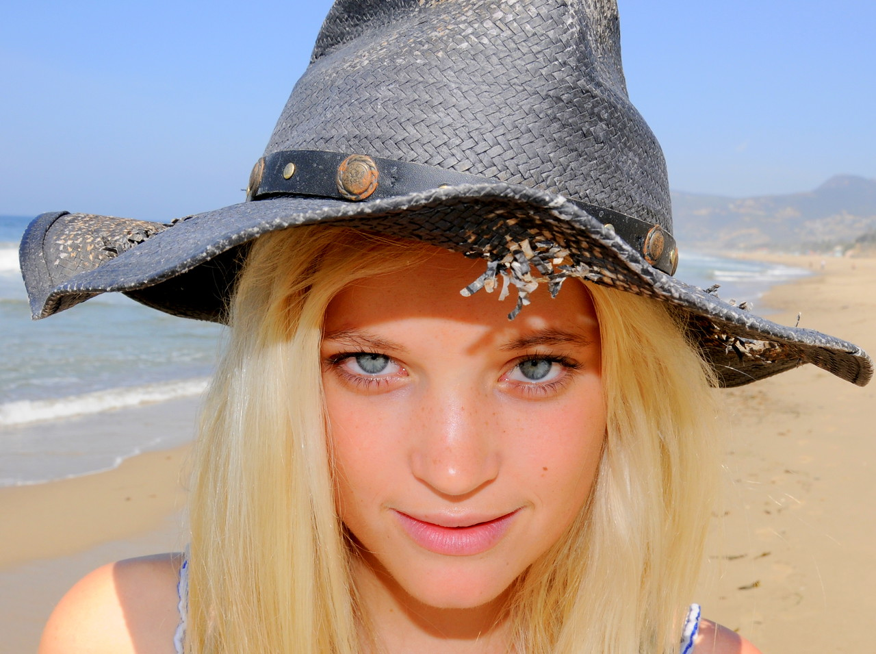 Beautiful Blonde Model on  Beach