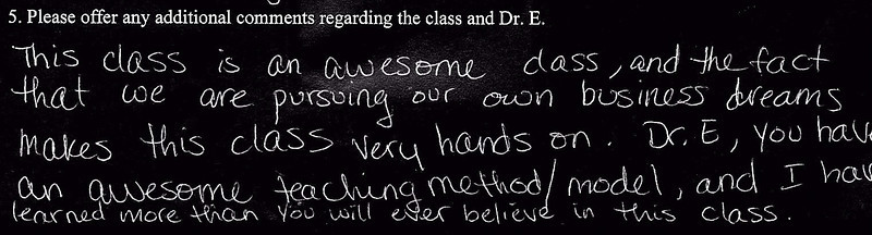 CLASS EVALUATIONS FOR THE HERO'S ODYSSEY IN ARTS
