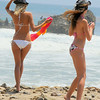 two russian bikini model surf girls with surfboard : two russian bikini model girls with surfboard